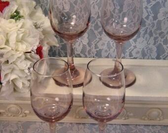 Vintage Pink Depression Glass Style Stemmed Wine Glass Set of Four, Wedding, Vintage Dinnerware, 1960's Mid Century, Vintage Barware