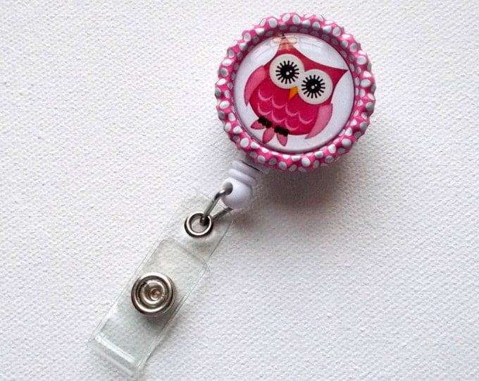 Pink & White Owl - Retractable ID Badge Reel - Name Tag Badge - Cute ID Badge Reel - Nurse Badge Clip - Pediatric Badge - Teacher ID