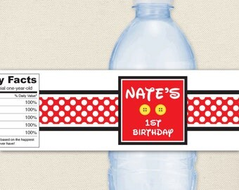 Mickey Mouse Party - 100% waterproof personalized water bottle labels