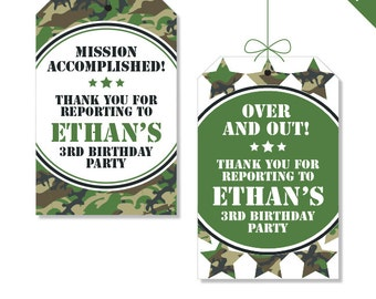 Camo or Army Party - Personalized DIY printable favor tags