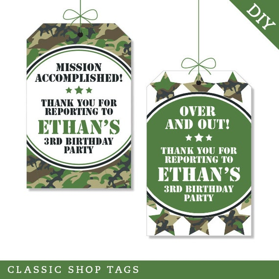Camo or Army Party Personalized DIY