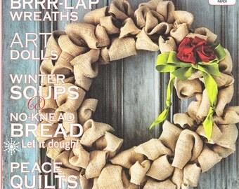 Mary Janes Farm Magazine-Burlap Wreaths, Art Dolls, No-Knead Bread, Peace Quilts, Dog Sweaters Dec-Jan 2013