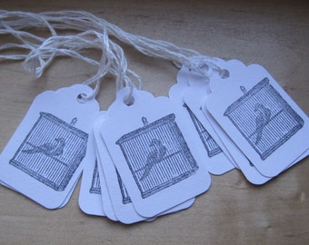 petite french market bird cage tags set of 10