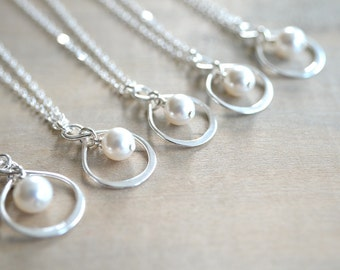 Bridesmaid Gift - 5 Infinity Necklaces in Sterling Silver with Swarovski Pearl - choose pearl color  - 10% off