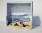 Diorama Beach Scene Ocean Blue Shadow Box