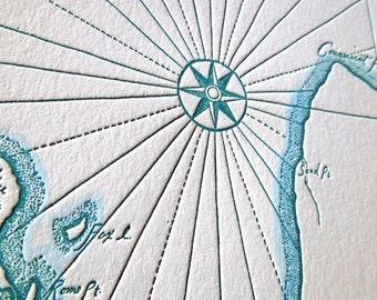 Narragansett Bay and Newport Harbor, Rhode Island, Letterpress printed Map (Nautical Blue)
