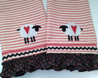 Red Ticking Fabric Kitchen Towels, Handmade Sheep Towels, Primitive Decor, Cottage Chic, Country Kitchen
