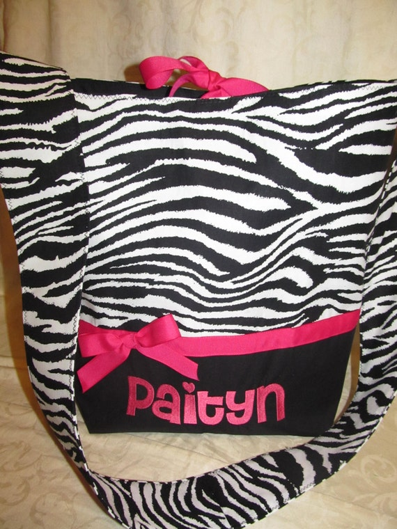 Animal Zebra print diaper bag Zebra Print and Hot pink Diaper bag/ tote/ toddler tote/ carry on/ overnight bag