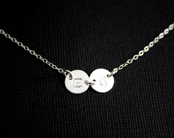 TWO initial discs Sterling Silver -Christmas gift, engraved necklace, birthday mothers day gift, for mom daughter  ,best friend