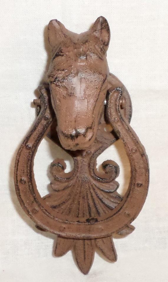 Door knocker horse and horseshoe antiqued rusty or pick - Horse door knocker ...