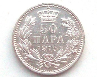 Serbia 1915 50 Para Silver Coin WWI