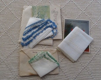 Vintage Handkerchiefs Linen, Lace, & Crocheted Edges