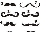 12 Moustache Vinyl Decals for Wine Glasses, Mugs, Computers, and More * Wedding Party * Rehearsal Dinner * Groomsman Groom Fun * Save Money