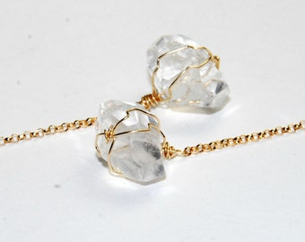 Crystal Quartz Earrings  - Chunky Stone - Long Earrings - Shoulder Duster - Natural Stone Earrings - 14K Gold Fill - Wire Wrapped