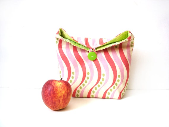 Lunch bag reusable eco friendly lunch tote, pink lime green stripes, insulated lunch bag
