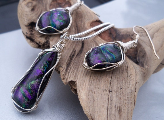 Jewelry Set, Dichroic Glass Wire Wrapped Earring & Necklace Set,  Mardi Gras Colors, OOAK Jewelry Set, Argentium Sterling Silver Jewelry Set
