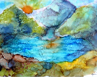 Alcohol Ink Painting Print by Maure Bausch