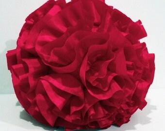 fushia pink round pillow,round cushion,homedecor,housewares,handmade pillow , throw pillow,pouf,shabby chic,retro, circle pillow,16inch dia