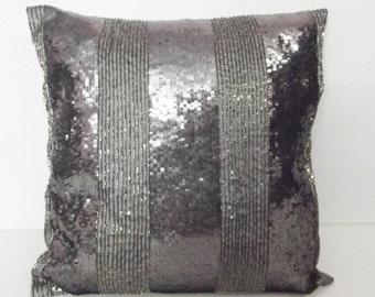silver pillow sequins pillow handmade pillow charcoal grey sparkle fashion pillow designer pillow wedding pillow decorative gift pillow