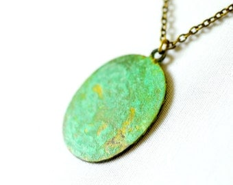 Sea Green Patina Charm Necklace, Teal Verdigris Oval Pendant, Antiqued Brass Chain, Vintage Metal Geometric Pendant