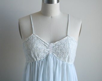 60s Maxi Nightgown - Lace and Pastel Blue - Vintage Lingerie