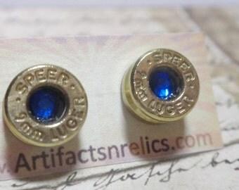 Bullet Earrings 9mm  w crystal Bullet Shell Surgical Steel Post Earrings