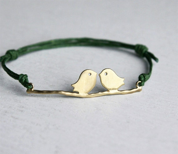 Love Birds Bracelet (Silver or brass charm and many cord colors to choose)