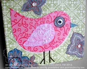 Shabby Chic - little chic fabric collage wall art - Ready to Hang