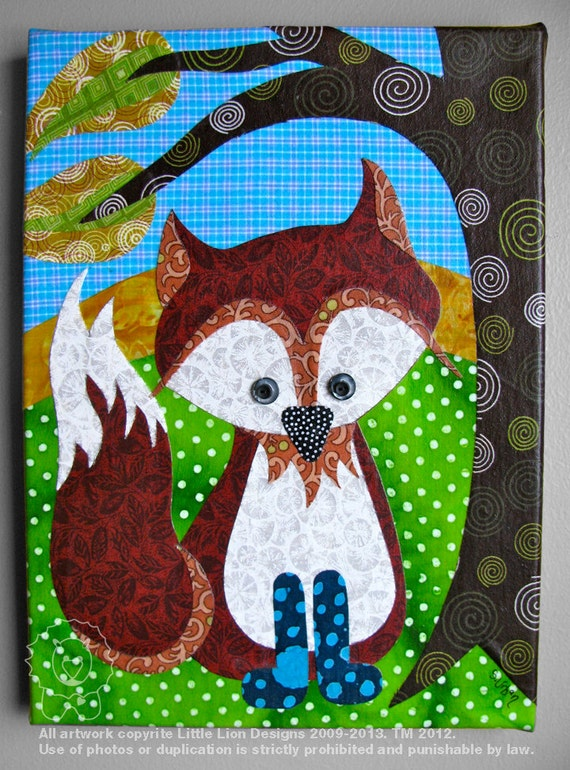 Good Afternoon Mr Fox - Fabric collage wall art - Ready to Hang