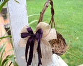Flower Girl Basket - twig basket with burlap and satin bows rustic, cottage and shabby chic wedding
