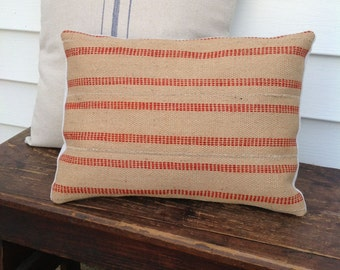 Jute Webbing Pillow Cover - Red 12 x 16