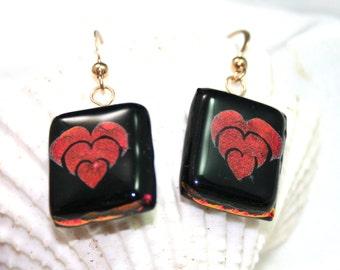 Red and Black Heart Dangle Art Glass Earrings, Fused Glass Earrings, Dichroic Dangles