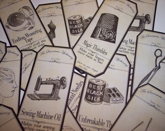 Sewing Steampunk  Apothecary Labels Set of 8