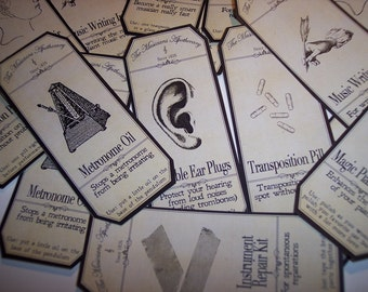 Music Steampunk  Apothecary Labels Set of 8