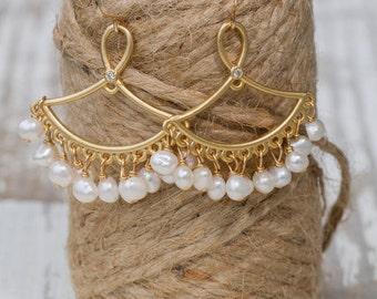 Gold Plated Fan Shaped Fresh Water Pearl Earrings | Bridal Jewelry | Dangle +Drop | Pearls + Gold |  Bridal Earrings | Bridesmaid Gift