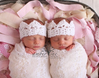 Crochet Baby Crown, Princess Photography Prop in White for Newborns to Adults