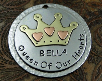 Handmade Dog ID Tag-King or Queen Crown Custom ID Tag-Personalized Dog Tag for Dogs