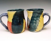 Set of Mugs - Bright Watercolor Crazy Quilt Primary Colors
