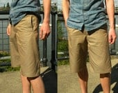 Handmade Mens Khaki two panel darted shorts-Edition of two-made to order