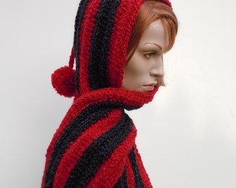 Candy Apple Red and Black Hooded Scarf -Red and Black Pixie Hood -Hat and Scarf - Crochet