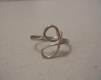 Adjustable Silver Initial Wire Ring Letter G