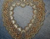 Hand Dyed Venise Elegant Lace Heart Applique  Distressed Blue Mocha