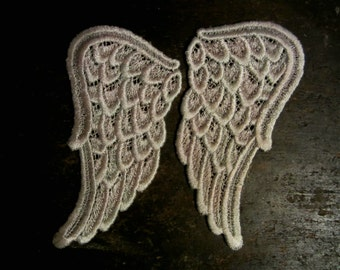 Hand Dyed Venise Lace Sweet Angel Wings Appliques Sea Blush LARGE