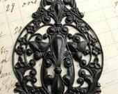 "Art Nouveau large ornament  ""The Garden Gate"" 72mm dark antiqued brass, aged black patina, ornate pierced, oxidized finish, flowers, leaves"