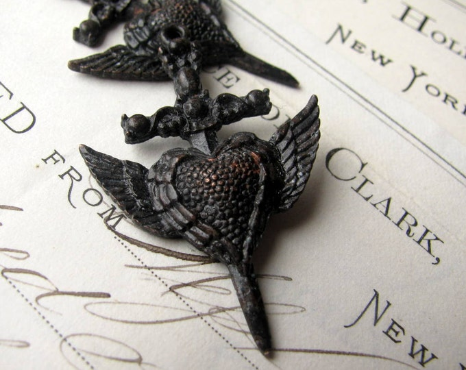 Gothic rosary cross, winged heart dagger (2  pendants from Bad Girl Castings) 40mm antiqued black pewter, wings, black cross