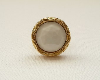 nr-White Facet and Gold Plate Vintage Look Button Adjustable Ring