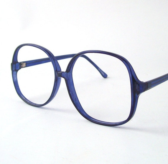 Bright Blue Glasses Frames : vintage clear blue frames eyewear glasses by RecycleBuyVintage