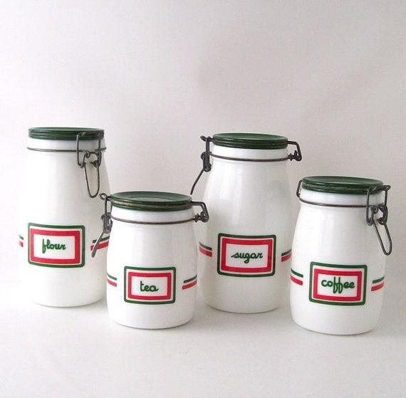 Vintage Kitchen Canister Set Milk Glass Milkglass Coffee Tea