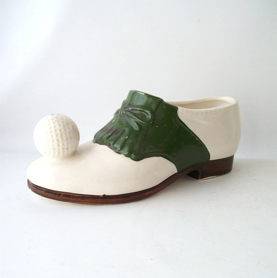 Vintage Golf Shoe Planter Green White Decorative Home Decor
