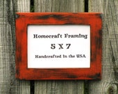 5X7 Picture Frame Distressed Wedding Frame Wood Frame Orange Black Shabby Chic Rustic